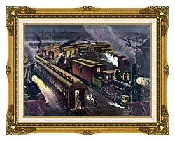 Currier And Ives Night Scene At A Railroad Junction canvas with museum ornate gold frame