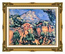 Paul Cezanne Mont Sainte Victoire Seen From Bibemus canvas with museum ornate gold frame