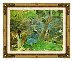 Paul Gauguin By The Pond canvas with museum ornate gold frame