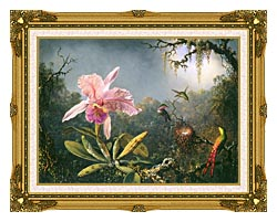 Martin Johnson Heade Cattleya Orchid And Three Brazilian Hummingbirds canvas with museum ornate gold frame