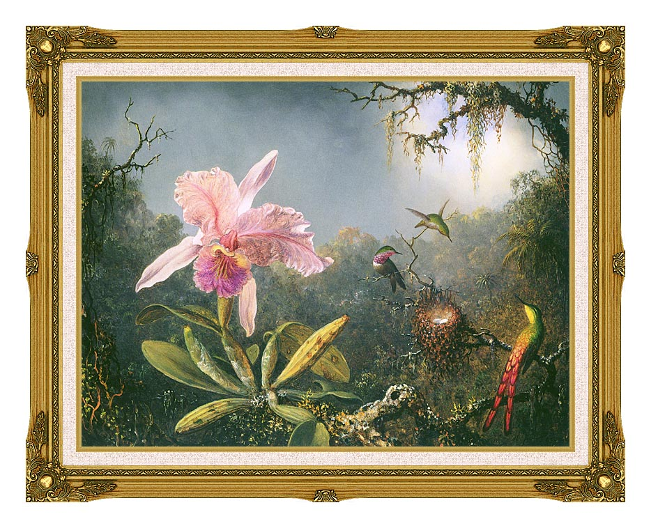 Martin Johnson Heade Cattleya Orchid and Three Brazilian Hummingbirds with Museum Ornate Frame w/Liner