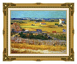 Vincent Van Gogh Harvest At La Crau canvas with museum ornate gold frame