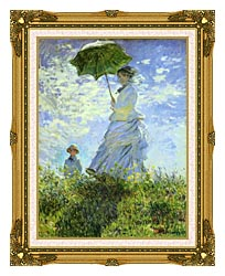 Claude Monet Woman With A Parasol canvas with museum ornate gold frame