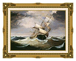 Fitz Hugh Lane Three Master On Rough Sea canvas with museum ornate gold frame