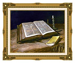 Vincent Van Gogh Still Life With Open Bible canvas with museum ornate gold frame