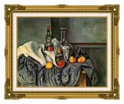 Paul Cezanne Still Life With Peppermint Bottle canvas with museum ornate gold frame