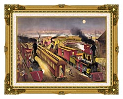 Currier And Ives Night Scene At An American Railway Junction canvas with museum ornate gold frame