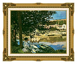 Claude Monet On The Seine At Bennecourt canvas with museum ornate gold frame