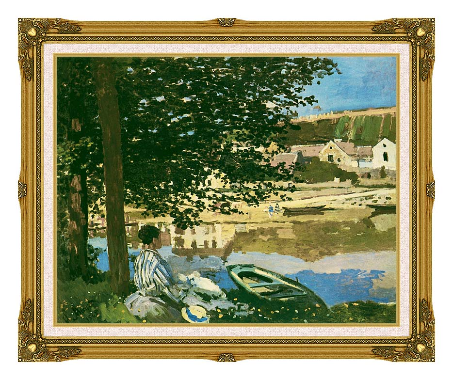 Claude Monet On the Seine at Bennecourt with Museum Ornate Frame w/Liner