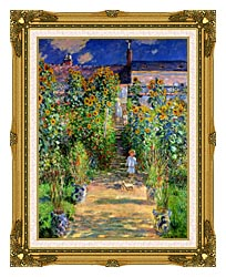 Claude Monet The Artists Garden At Vetheuil canvas with museum ornate gold frame