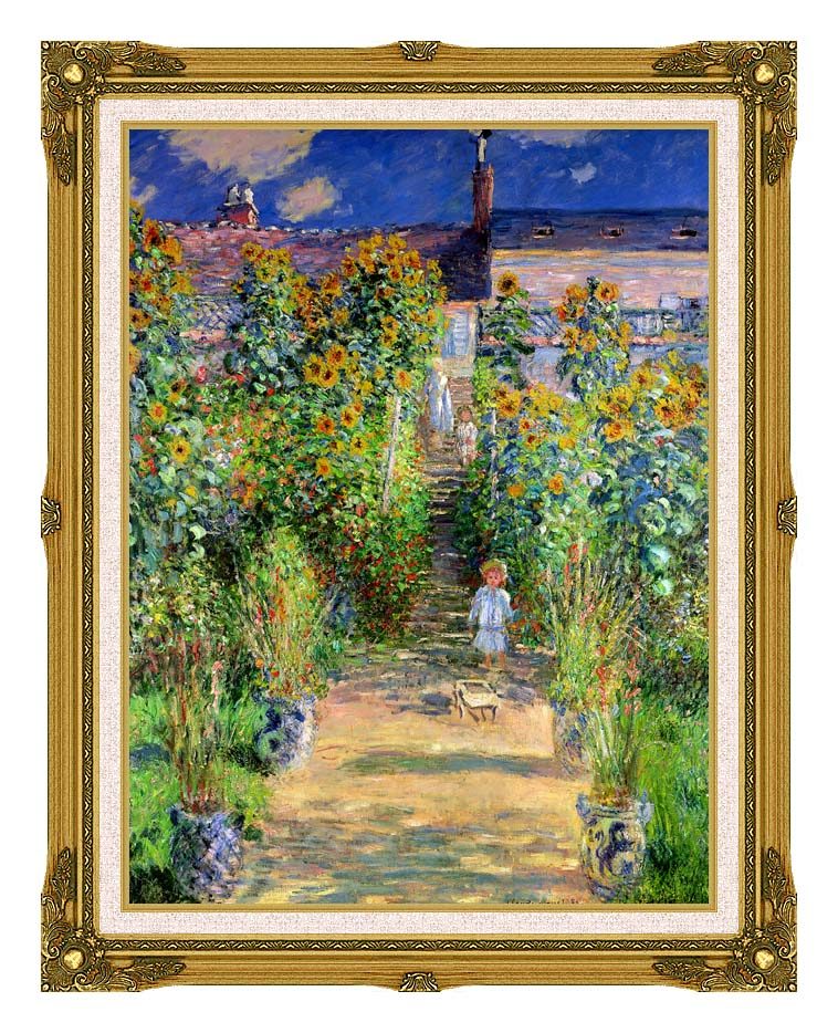 Claude Monet The Artist's Garden at Vetheuil with Museum Ornate Frame w/Liner