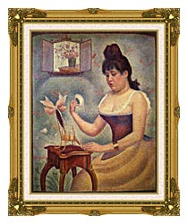Georges Seurat Young Woman Powdering Herself canvas with museum ornate gold frame