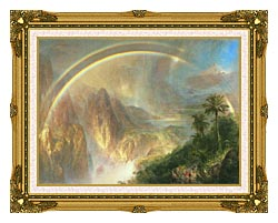 Frederic Edwin Church Rainy Season In The Tropics Detail canvas with museum ornate gold frame