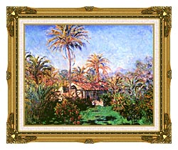 Claude Monet Palm Trees At Bordighera canvas with museum ornate gold frame
