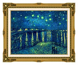 Vincent Van Gogh Starry Night Over The Rhone canvas with museum ornate gold frame