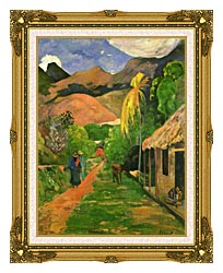 Paul Gauguin Street In Tahiti canvas with museum ornate gold frame
