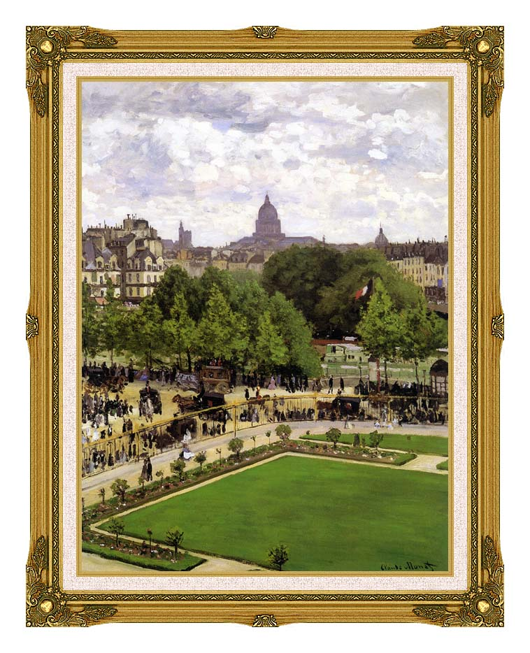 Claude Monet Garden of the Princess, Louvre with Museum Ornate Frame w/Liner