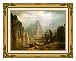 Albert Bierstadt Merced River Yosemite Valley canvas with museum ornate gold frame