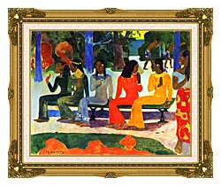 Paul Gauguin We Shall Not Go To Market Today canvas with museum ornate gold frame