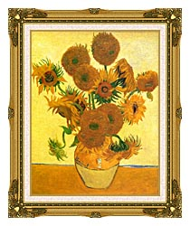 Vincent Van Gogh Still Life Vase With Fourteen Sunflowers canvas with museum ornate gold frame