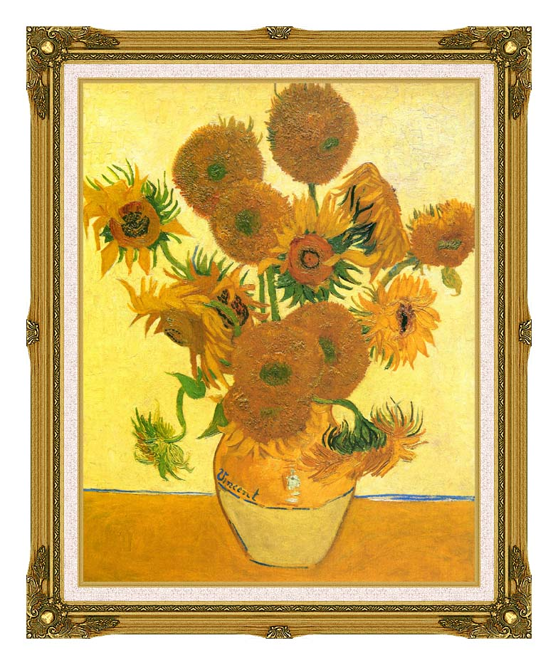Vincent van Gogh Still Life: Vase with Fourteen Sunflowers with Museum Ornate Frame w/Liner
