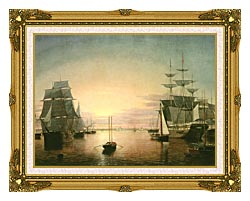 Fitz Hugh Lane Boston Harbor At Sunset canvas with museum ornate gold frame