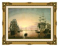Fitz Hugh Lane Boston Harbor At Sunset canvas with museum ornate gold frame