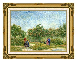 Vincent Van Gogh Courting Couples In A Public Park In Asnieres canvas with museum ornate gold frame