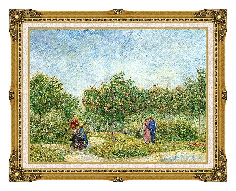 Vincent van Gogh Courting Couples in a Public Park in Asnieres with Museum Ornate Frame w/Liner