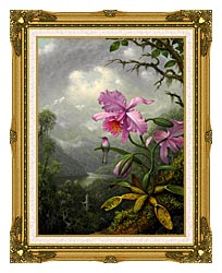Martin Johnson Heade Hummingbird Perched On The Orchid Plant canvas with museum ornate gold frame