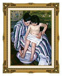 Mary Cassatt The Bath canvas with museum ornate gold frame