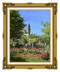 Claude Monet Garden In Bloom canvas with museum ornate gold frame