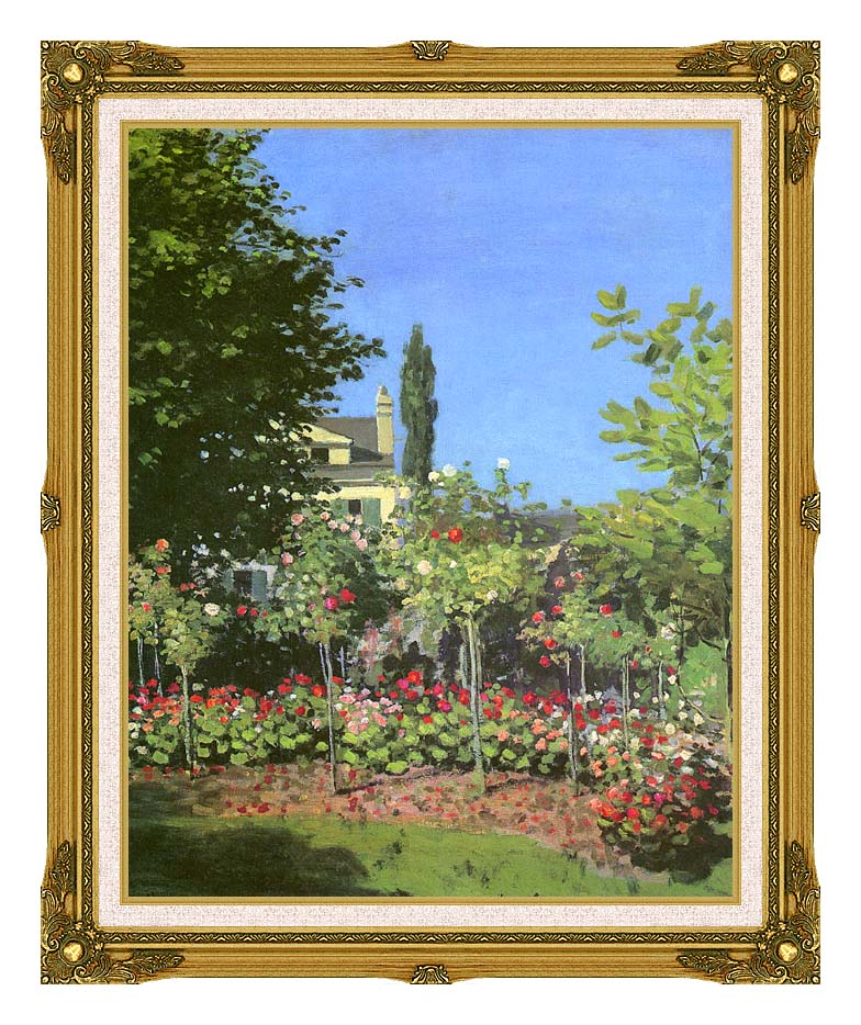 Claude Monet Garden in Bloom with Museum Ornate Frame w/Liner