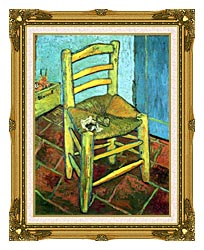 Vincent Van Gogh Vincents Chair With His Pipe canvas with museum ornate gold frame