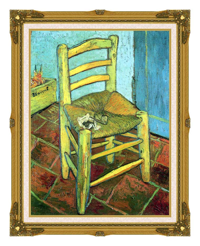 Vincent van Gogh Vincent's Chair with His Pipe with Museum Ornate Frame w/Liner