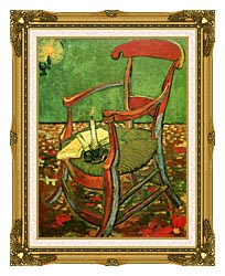 Vincent Van Gogh Paul Gauguins Armchair canvas with museum ornate gold frame