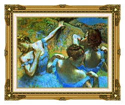 Edgar Degas Blue Dancers Detail canvas with museum ornate gold frame