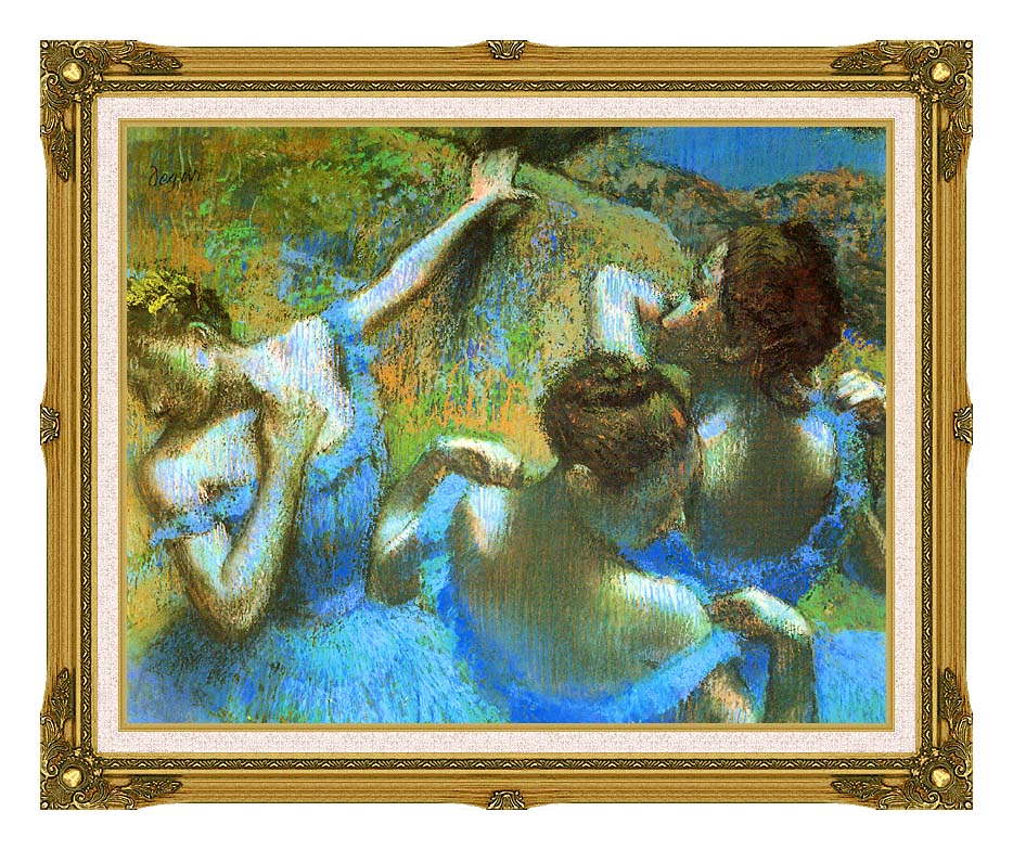Edgar Degas Blue Dancers (detail) with Museum Ornate Frame w/Liner