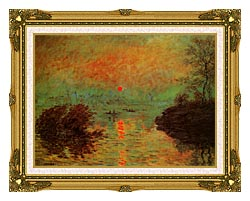 Claude Monet Sunset On The Seine At Lavacourt Winter Effect canvas with museum ornate gold frame