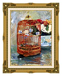 Berthe Morisot The Cage canvas with museum ornate gold frame