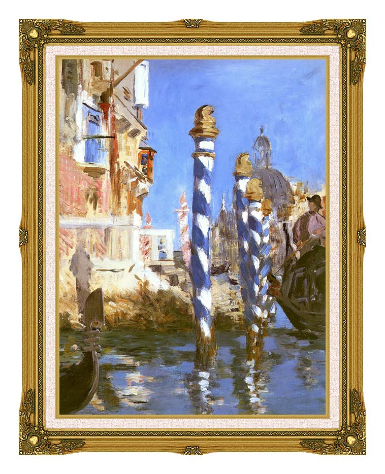 Edouard Manet The Grand Canal - Venice, Italy with Museum Ornate Frame w/Liner