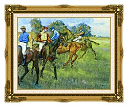 Edgar Degas Race Horses canvas with museum ornate gold frame