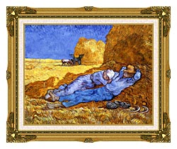 Vincent Van Gogh Noon Rest From Work canvas with museum ornate gold frame