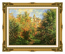 Claude Monet Gardens At Bordighera canvas with museum ornate gold frame