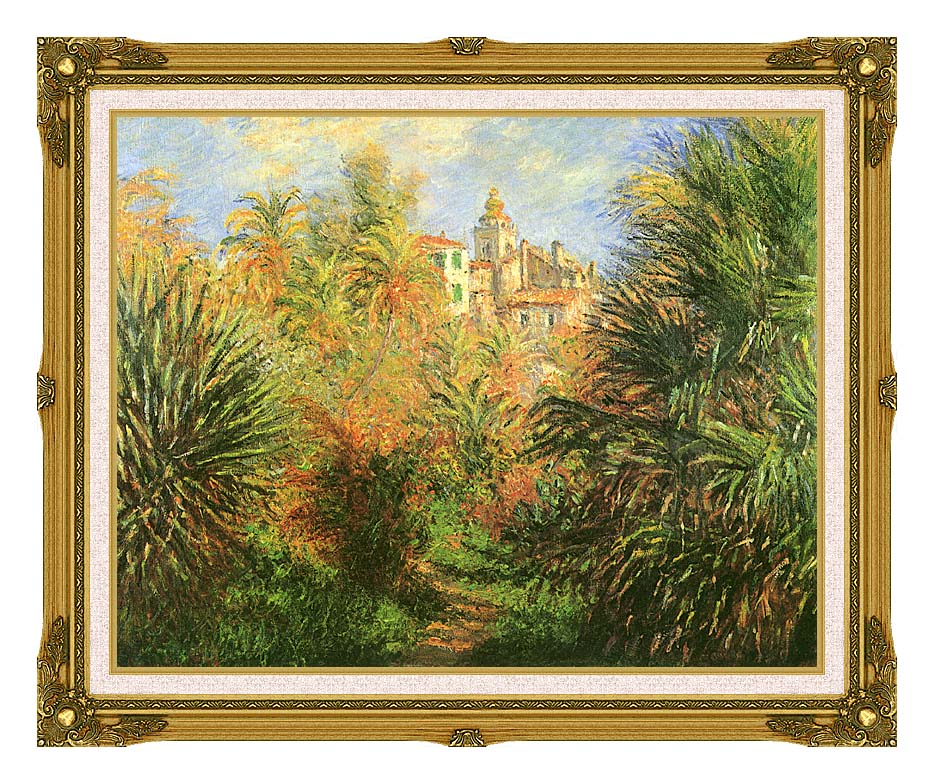 Claude Monet Gardens at Bordighera with Museum Ornate Frame w/Liner