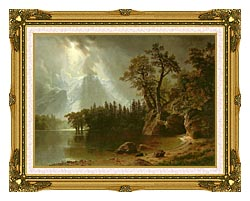 Albert Bierstadt Passing Storm Over The Sierra Nevadas canvas with museum ornate gold frame