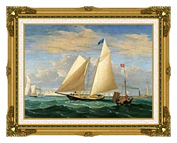 Fitz Hugh Lane The Yacht America Winning The International Race canvas with museum ornate gold frame