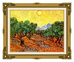 Vincent Van Gogh Olive Trees With Yellow Sky And Sun canvas with museum ornate gold frame