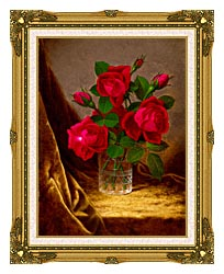 Martin Johnson Heade Jacqueminot Roses canvas with museum ornate gold frame