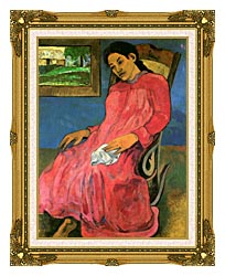 Paul Gauguin The Dreamer canvas with museum ornate gold frame